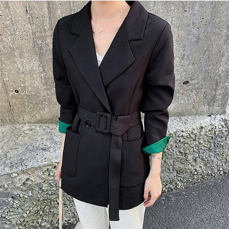 HziriP Black Large Size Feminine Loose Elegant All Match 2019 Slender New Stylish Chic Sashes Office Lady Casual Women Blazers
