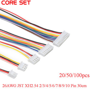 100/50/20pcs/lot 26AWG JST XH2.54 2/3/4/5/6/7/8/9/10 Pin XH-2.54 Pitch 2.54mm Connector Plug With Wire Cable 30cm Length