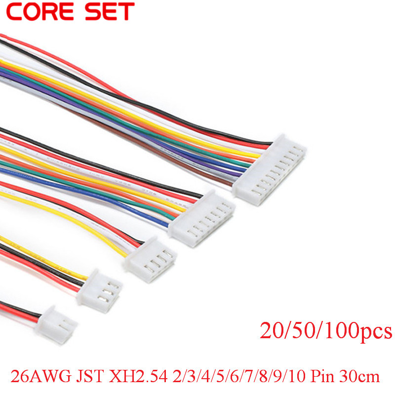 100/50/20pcs/lot <font><b>26AWG</b></font> JST XH2.54 2/<font><b>3</b></font>/4/5/6/7/8/9/10 Pin XH-2.54 Pitch 2.54mm Connector Plug With <font><b>Wire</b></font> Cable 30cm Length image