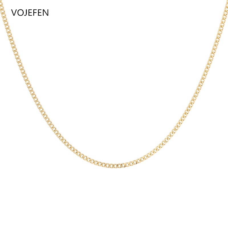 VOJEFEN AU750 18k Real Gold Chain Necklace for Women/Men, Pure Golden Big Link Choker With Fine Jewelry Gift 2021 NEW 1