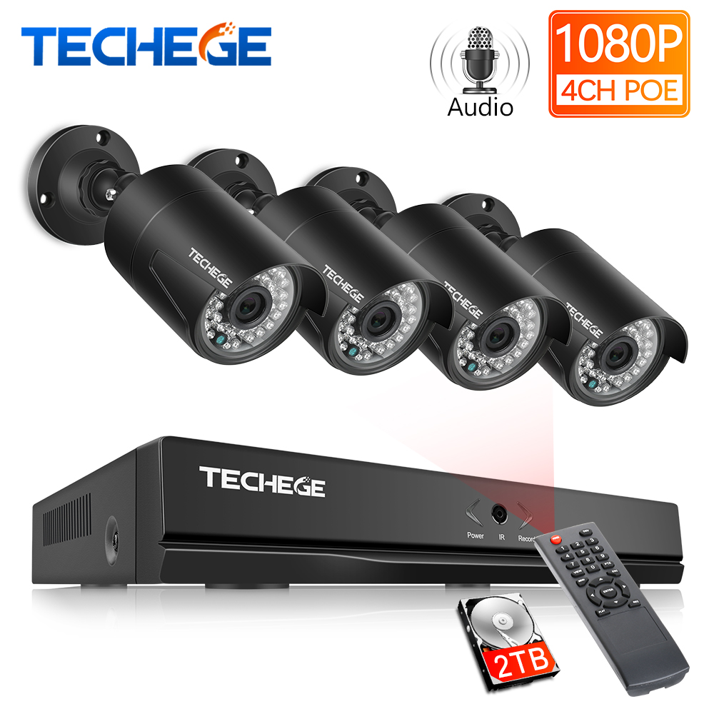 Techege 4CH 48V PoE NVR POE System Audio Record 2.0MP Onvif PoE IP Camera Waterproof Remote View XMEye Surveillance CCTV System