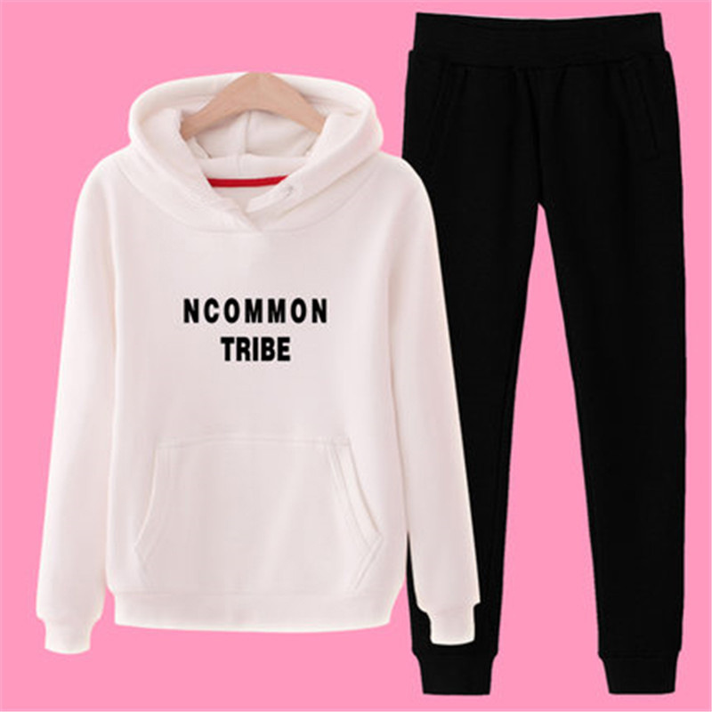 Two Pieces Brushed And Thick Sports Clothing 2019 Winter New Style Fashion Large Size Women's Casual Hoodie Suit