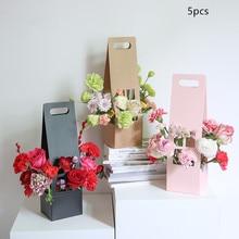 5pcs Portable Flower Box 12*11*42cm Kraft Paper Hollow Flowers Basket Wedding Mothers Day Supplies