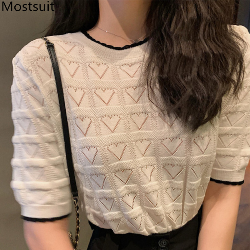 2020 Summer Heart Knitted Hollow Sweaters Tops Women Short Sleeve O-neck Casual Fashion Korean Elegant Ladies Pullovers Sweaters