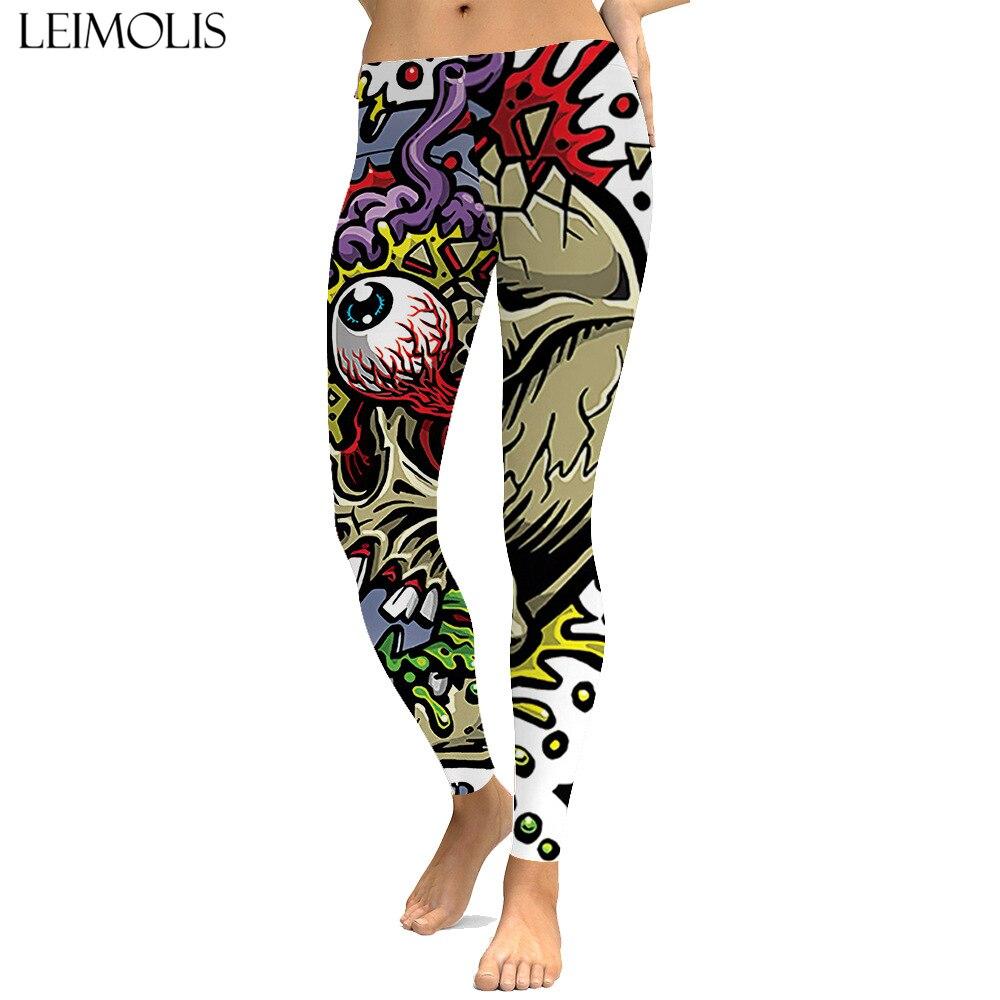 LEIMOLIS Zombie Eyeball Gothic Cartoon Print Push Up Leggings Plus Size Women Fitness Workout Punk High Waist Spandex Leggins