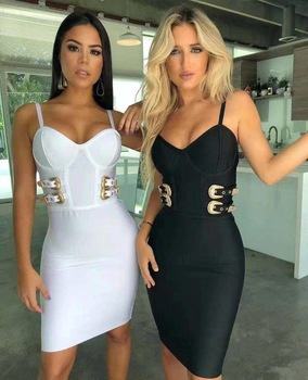 Women Summer Dress Sexy V Neck Backless Black White Bodycon Bandage Dress 2020 Designer Fashion Evening Party Dress Vestido