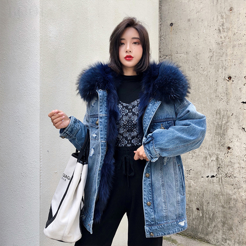 2020 Real Fur Coat Women Luxurious Large Raccoon Fur Collar Hooded Coat Warm Fox Fur Liner Parkas Long Winter Jacket Top Quality