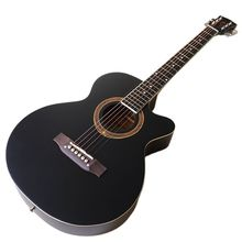 Cutaway design 6 string acoustic guitar 40 inch full basswood body black blue matte finish 21 frets folk guitar with some flaw