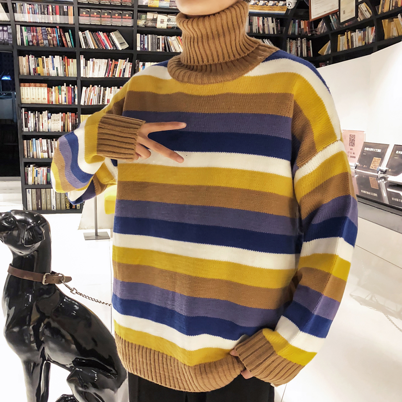 Winter High Collar Sweater Men Warm Fashion Contrast Color Casual Striped Knit Sweater Man Sweter Loose Long Sleeve Pullover Men