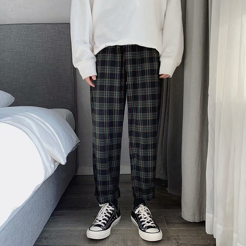 US $11.54 |Men Women Korean Green Plaid Casual Pants 2020 Mens Streetwear Harem Pants Male Checkered Trousers Plus Size|Harem Pants| |  - AliExpress