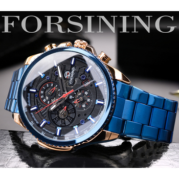 Forsining Men Blue Mechanical Wrist Watches Automatic Multifunction Date Military Sport Stainless Steel Strap Male Clock Relogio Men Brands