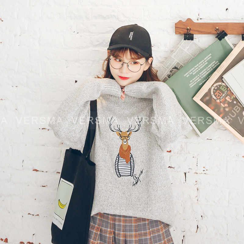Versna Kualitas Tinggi Rajutan Hitam Pria Sweater Rusa Jumper Pria Korea Gaya Pakaian Pria Jelek Natal Sweater Pria Pullover