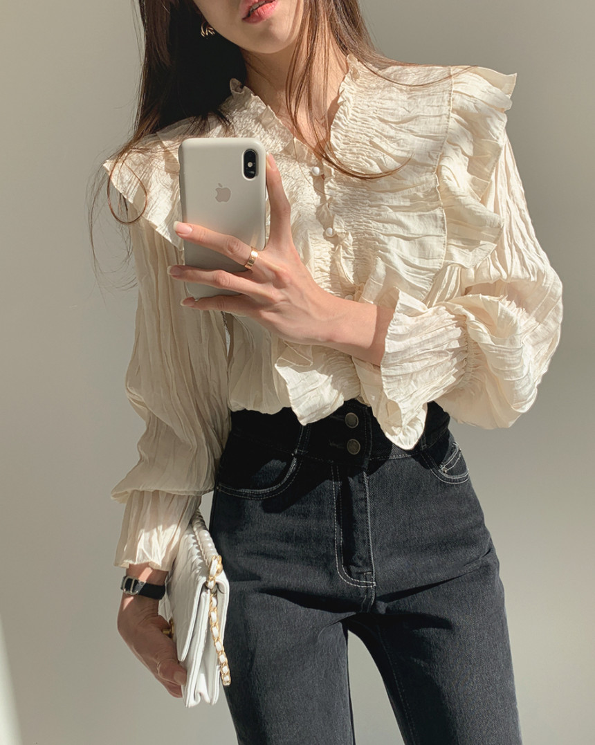 H8a057e4cc96041c0a243fcc6e21798dfg - Spring / Autumn V-Neck Long Sleeves Ruffles Pleated Solid Blouse