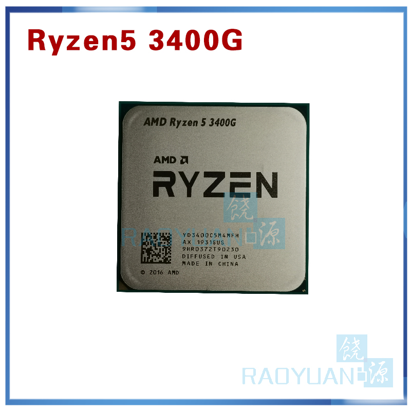 AMD Ryzen 5 3400G R5 3400G 3.7 GHz Quad-Core Eight-Thread 65W CPU Processor YD3400C5M4MFH Socket AM4