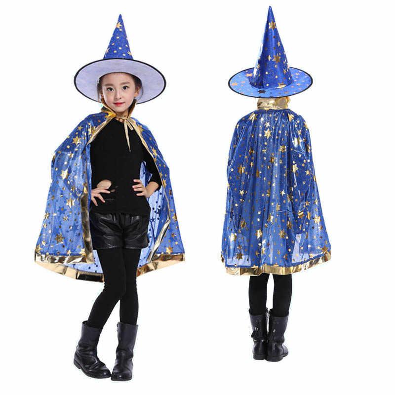 Kostum Halloween Satin Cape dengan Topi untuk Anak-anak Anak Laki-laki Penyihir dan Gadis Penyihir Cosplay Halloween Pesta