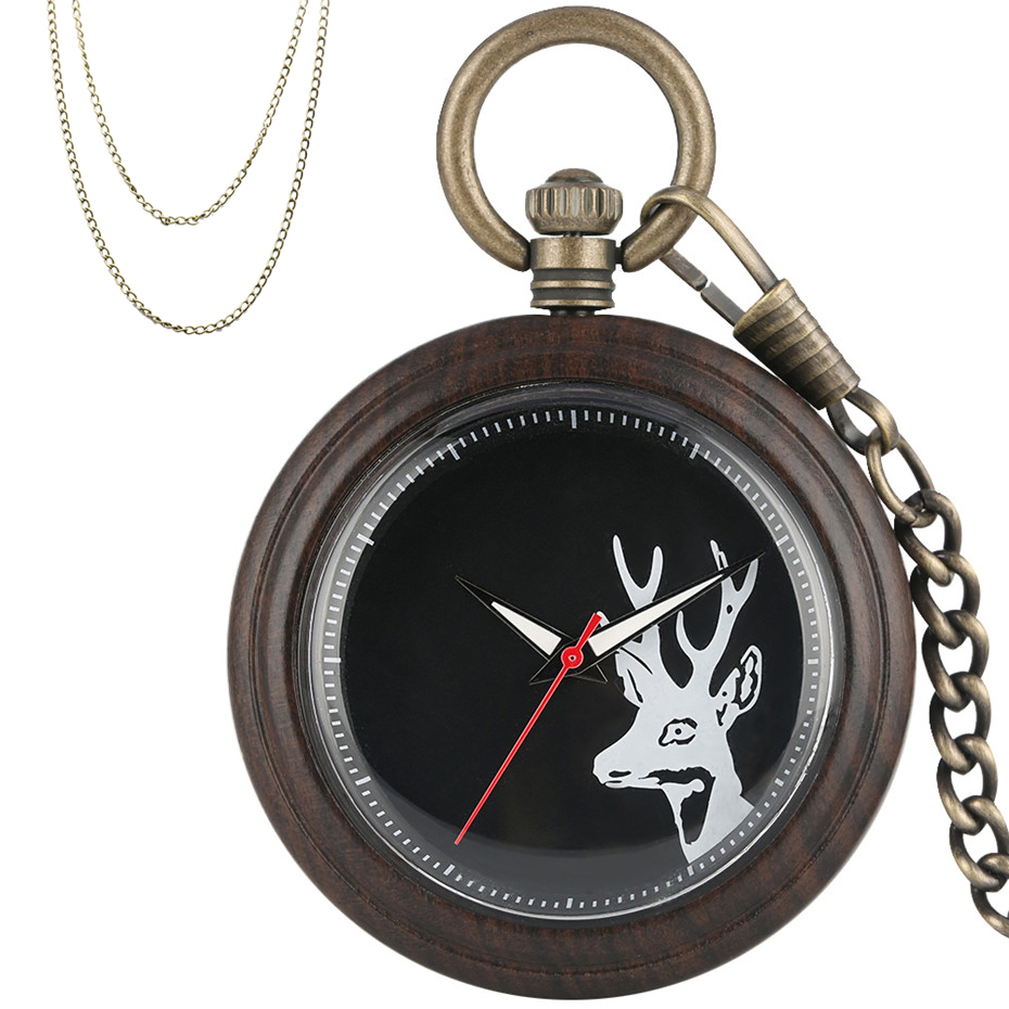 New Arrival 2019 Full Wooden Case Print Elk Head Quartz Pocket Watch Retro Bronze Pocket Hanging Chain Fob Sweater Chain Unisex