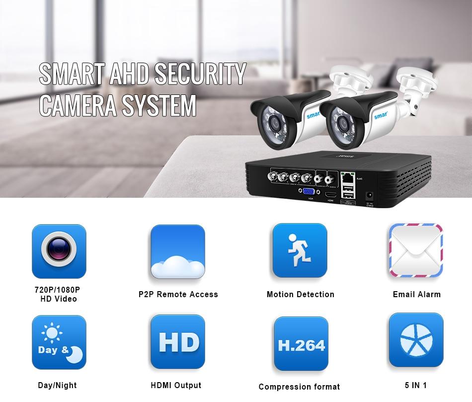 Smar 4CH 1080N 5in1 AHD DVR Kit CCTV System 2pcs 720P1080P AHD WaterproofBullet Camera Security Surveillance Set Email Alarm (1)