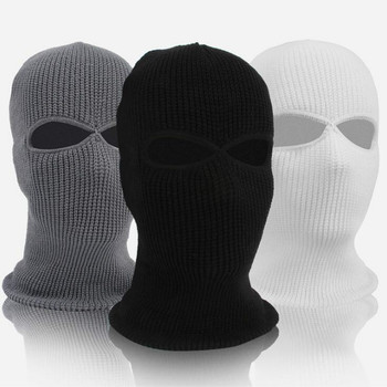Winter 2/3 Hole Full Face Mask Cap Knitting Motorcycle Face Shield Outdoor Riding Ski Mountaineering Head Cover image