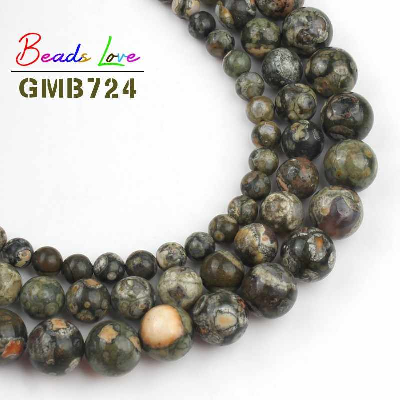 Natural Green Old KAMBABA Stone Beads 6mm 8mm 10mm 12mm Beads For Jewelry Making Handmade DIY Aceessories Bracelet Necklace 15''