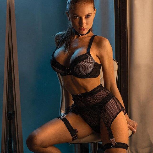 Sexy 3 Piece Black Lingerie Set See Through Transparent Bra and Panties Garter Belt #L1445 3