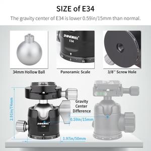 "Image 4 - INNOREL E34/E40 נמוך פרופיל חצובה כדור ראש פנורמי CNC מצלמה חצובה Ballhead עם 1/4 ""Arca שוויצרי L שחרור מהיר צלחת"