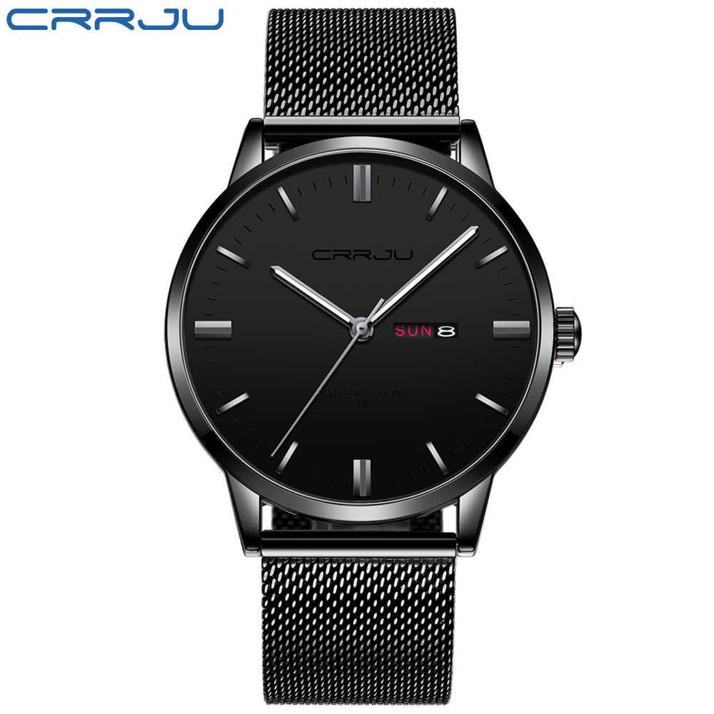 นาฬิกาผู้ชาย TOP Luxury ยี่ห้อ CRRJU Analog นาฬิกาผู้ชายสแตนเลสสตีลนาฬิกาข้อมือควอตซ์กันน้ำวันที่ Relogio Masculino