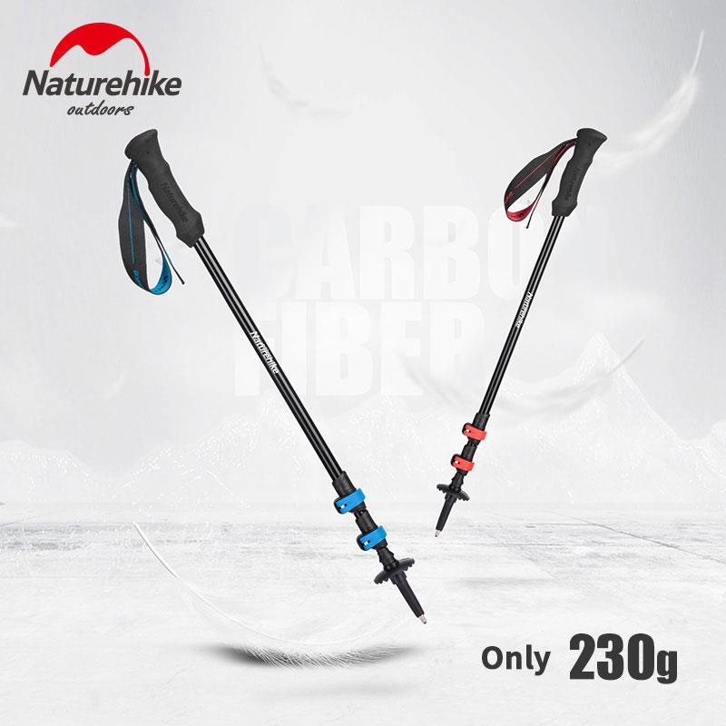 Naturehike Trekking Pole Aluminum Alloy Ultralight Hiking Stick Portable Outdoor Hiking Pole Telescopic Alpenstock 3 Section