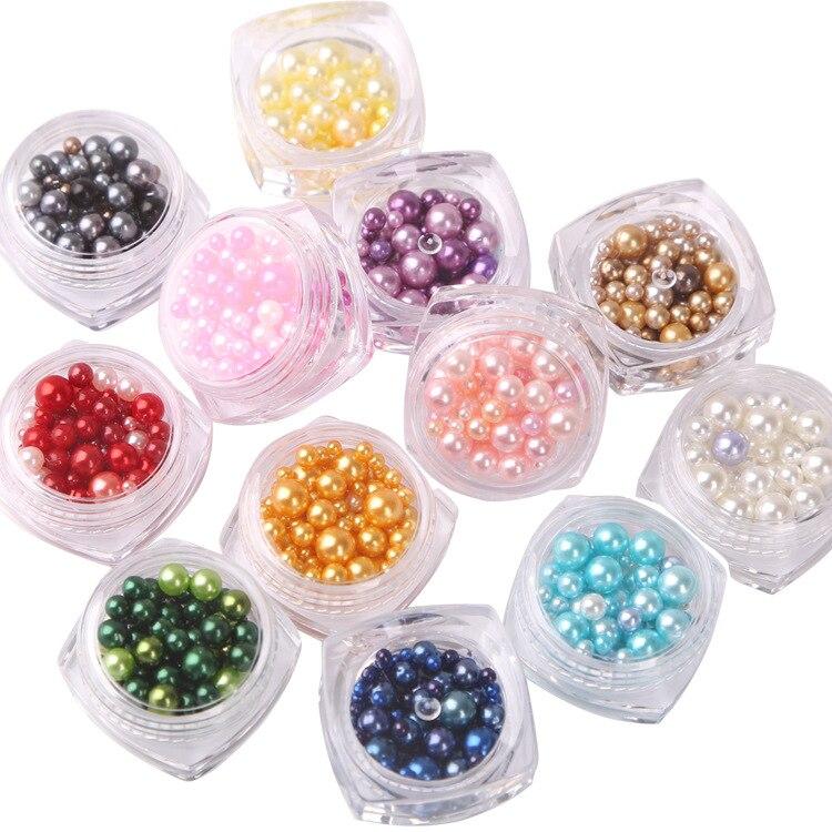 Ka Fu Lan Dai Color Nail Sticker Size Mixed Pearl 12-Color Pearl Nail Ornament Wholesale