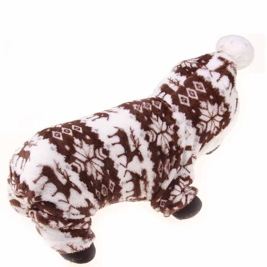 かわいい漫画ペットトナカイ子犬服ソフトサンゴのベルベットのフリース冬暖かいセーター衣装アパレル
