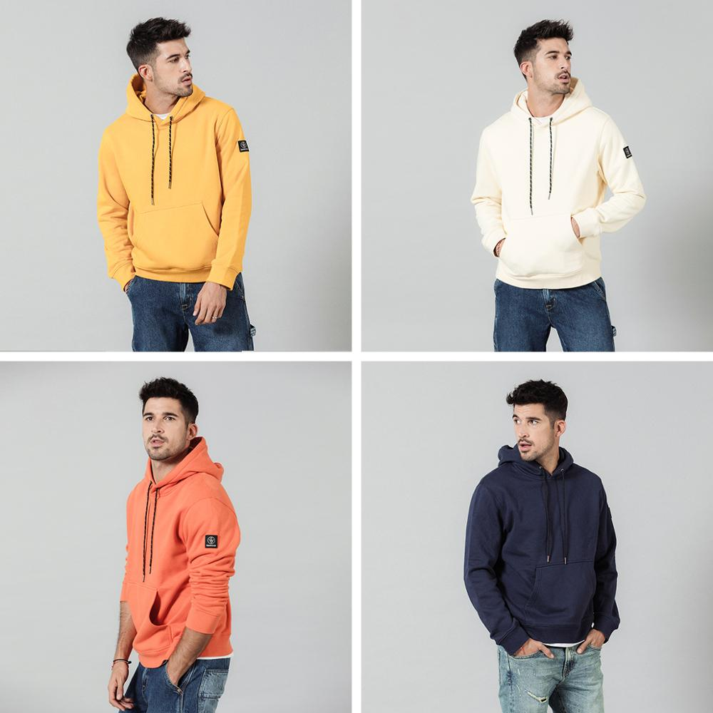 Image 3 - SIMWOOD Fashion Hoodies Men Casual Fleece Solid color Hooded 