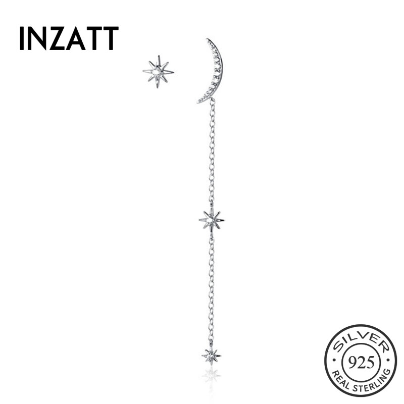 INZATT Real 925 Sterling Silver Chain Tassel Asymmetry Drop Earrings For Elegant Women Party Fine Jewelry Cute Accessories Gift
