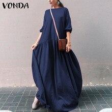 Kadın Kaftan elbise rahat uzun kollu elbiseler 2021 VONDA seksi pilili Maxi elbise artı boyutu kadın Sundress artı boyutu S-5XL
