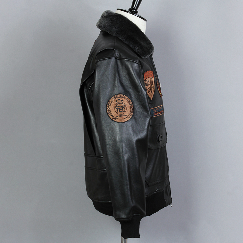 Fly Air Force Flight Biker Motorcycle Fur Collar G1 Genuine Leather Jacket Men Black Sheepskin Winter Coat