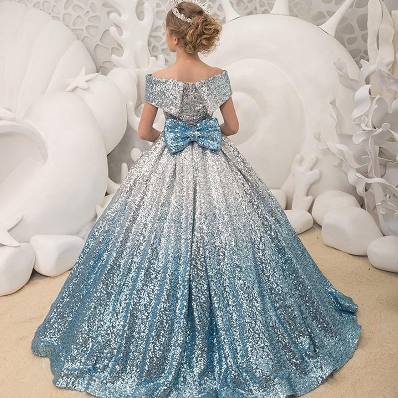 Crianças vestidos de baile 2020 meninas elegantes lantejoulas vestidos de baile com arco adolescentes festa à noite vestido formal menina duincanera
