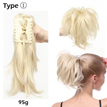 S-noilite High Temperature Fiber Hairpieces Long Wavy Synthetic Claw Clip Ponytail Hair Extensions for Women Black Brown 2