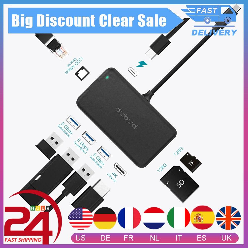 dodocool USB C HUB Type C HUB To USB 3.0 4K Video HD Output Port RJ45 Gigabit Ethernet Adapter USB HUB For MacBook Pro Galaxy S9