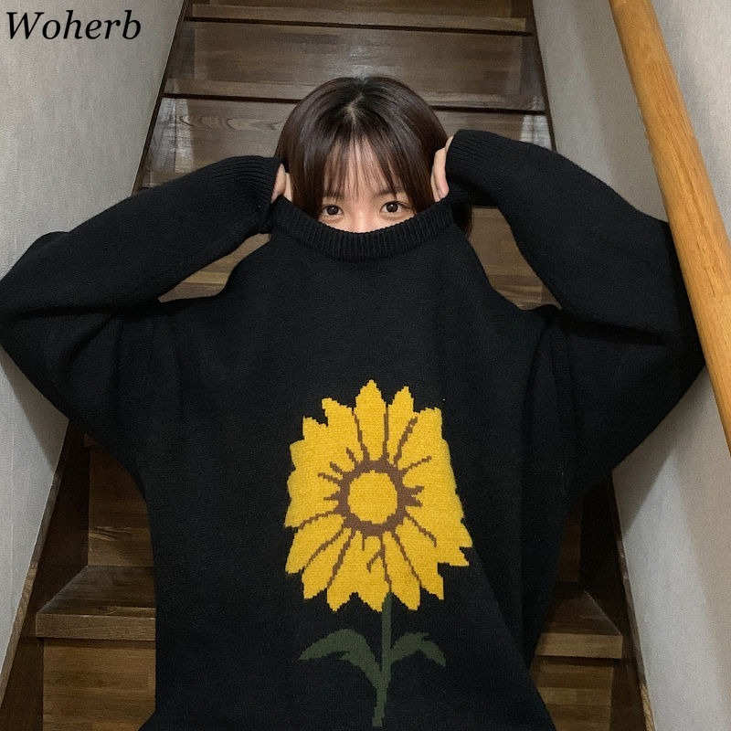 Woherb Pull Femme Flower Pattern O Neck Long Sleeve Pullovers Jumpers Casual Loose Vintage Sweater Women Korean Fashion 91435