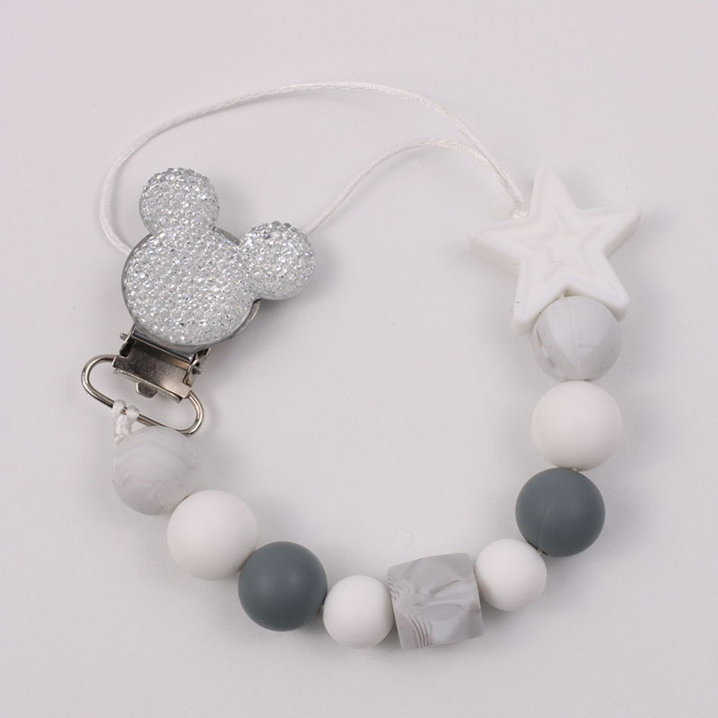 Baby Boy Girl Pacifier Holder Chain Food Grade Chew Silicone Beads Bling Bling Infant Pacifier Clip