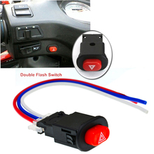 Motorcycle Hazard Light Switch Double Warning Flasher Emergency Signal w/3 Wires