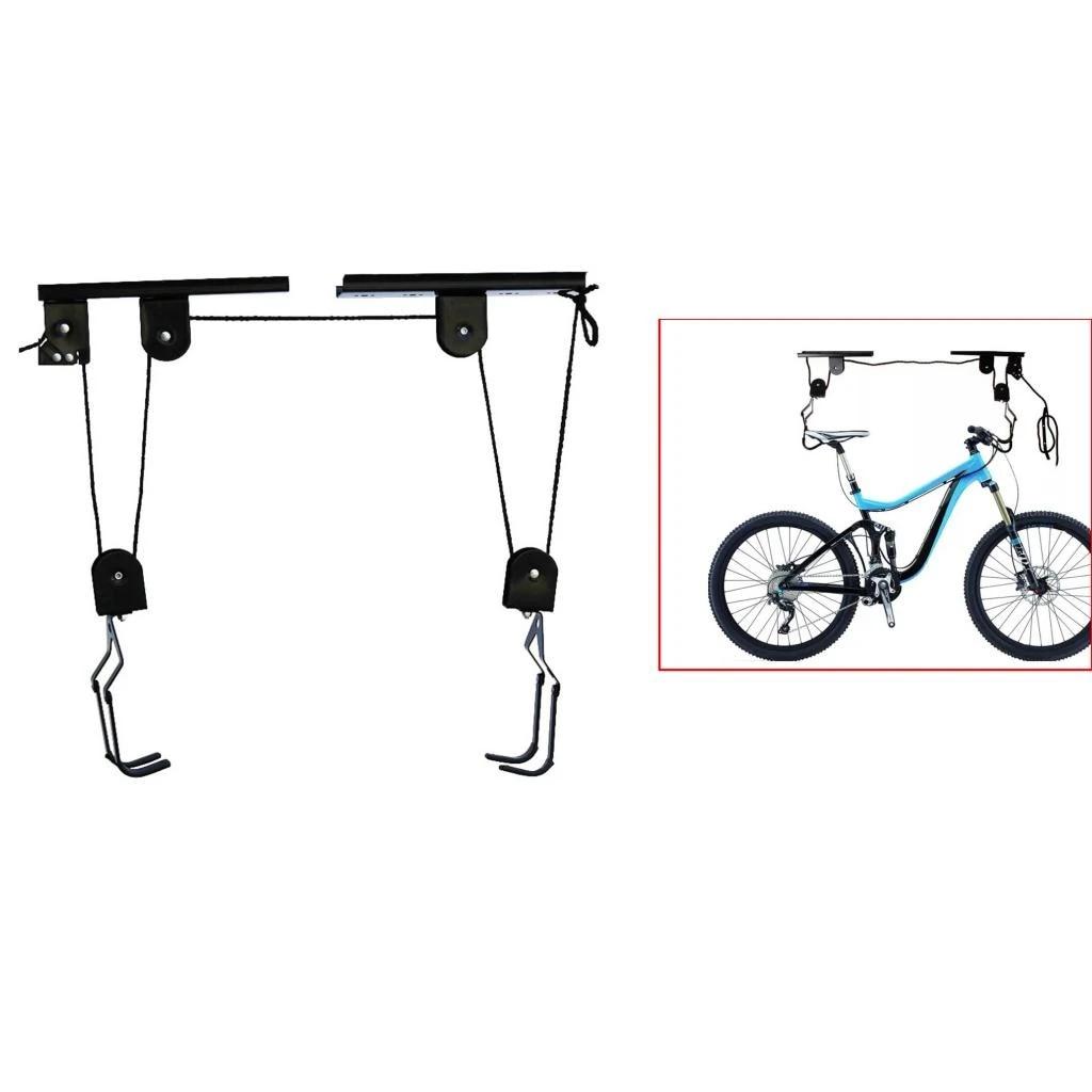 premium 40kg load ceiling mounted bike bicycle lift storage holder garage shed hook hoist pulley system accessories