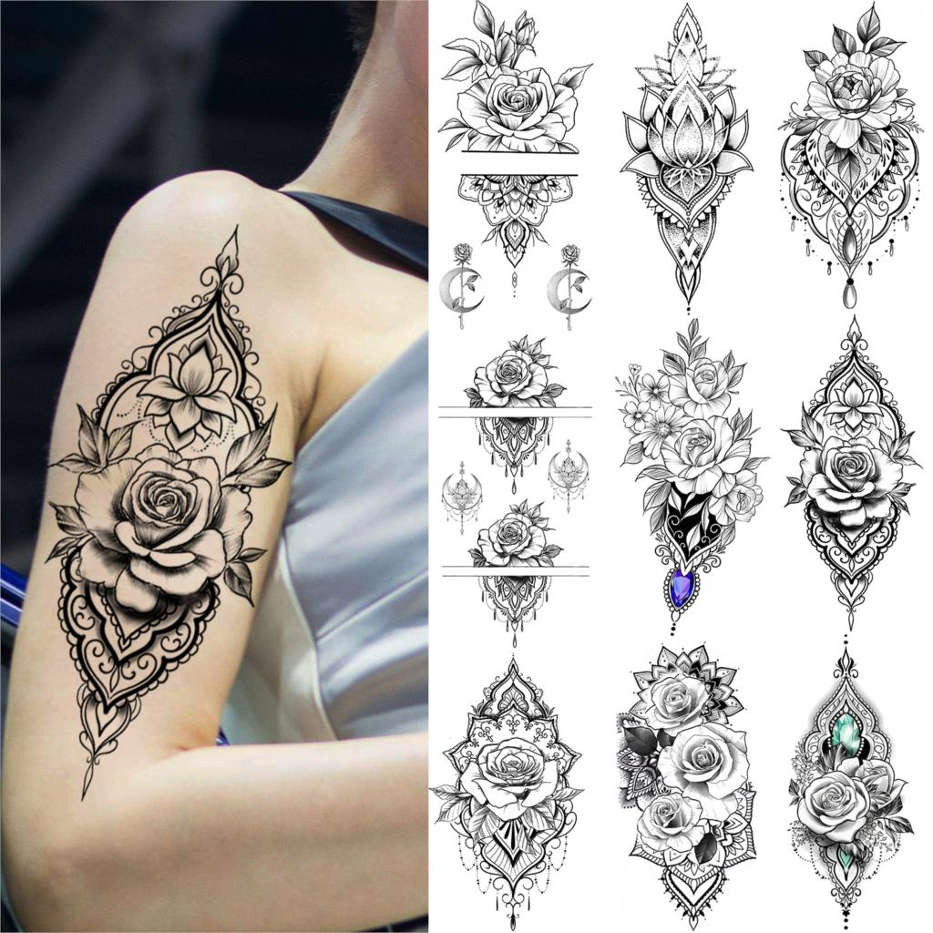 Black Henna Rose Flower Temporary Tattoo For Women Lace Fake Jewelry Tattoo Sticker Indian Wedding Body Art Pendant Tatoo Makeup(China)