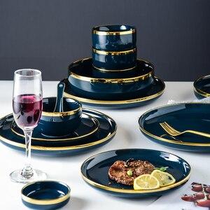 Скандинавские золотые инкрустации, синие керамические тарелки для еды, тарелка для стейка, керамическая миска для супа, ложка, тарелка для у...