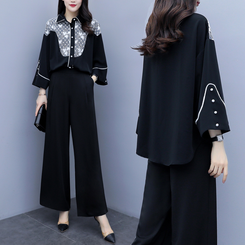 2019 Autumn Black Elegant Two Piece Sets Outfits Women Printed Tops And Wide Leg Pants Suits Office Korean Fashion 2 Piece Sets 31