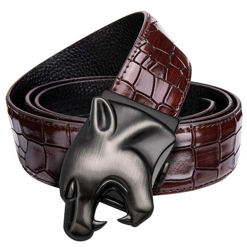 Cinturón rojo de moda Hi-Tie de diseño de lujo de hombre vaquero Casual de cuero de cocodrilo Jeans correa de cinturón cinturones de hebilla automática para los hombres