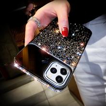 Luksusowe lustro stopniowa zmiana klejnotami błyszczące diamentowe etui na telefony dla iPhone 12 Mini 11 Pro X Xr Xs Max 6 6s 7 8 Plus SE2020 okładka tanie tanio ONE PLANT CN (pochodzenie) Aneks Skrzynki Luxury mirror Gradual Change Jewelled Shiny Diamond Phone Case Urządzenia iPhone Apple
