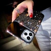 Funda de teléfono de diamante brillante para iPhone, carcasa de lujo con espejo y cambio de graduales, para modelos 12, Mini, 11 Pro, X, Xr, Xs, Max, 6, 6s, 7, 8 Plus, SE2020