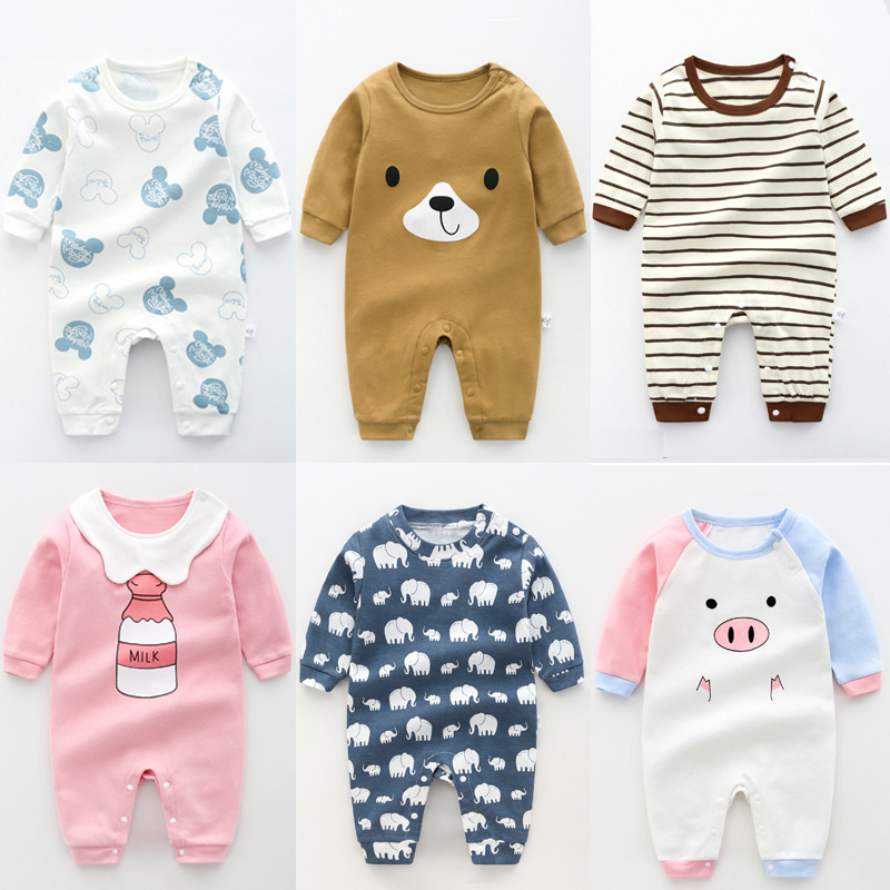 Sabei Baby Girl Boy Clothes Butterfly and Cartoon Pig Bodysuit Romper Jumpsuit Outfits Baby One Piece Long Sleeve