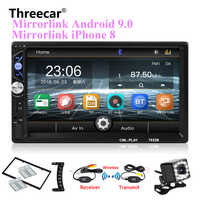 """2din Autoradio 7 """"tactile mirrorlink Android 9 lecteur pour caisson de basses MP5 lecteur Autoradio Bluetooth vue arrière caméra magnétophone"""