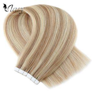Image 4 - Vlasy 16 20 24 רמי קלטת שיער הרחבות פסנתר צבע ישר כפול נמשך Weft עור דבק קלטת תוספות