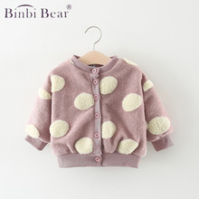 Autumn Winter New Baby Sweater Infant Girl Wool Coats Kids Cute Polka Dot Causal Jackets For Toddler Outwear Clothes Cardigan